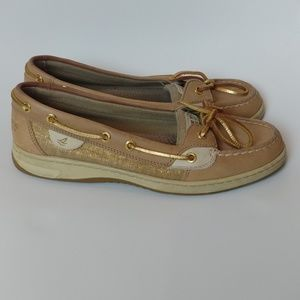 Sperry tan brown w metallic gold boat shoes